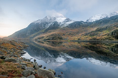 Mountain High (Einir Wyn) Tags: landscape digital snow reflections colour rugged wilderness wales ogwen lake water outdoor mountains blue light february winter scenery tourism visitors nikon wideangle sigma sunlight emotions love passion breathtakinglandscapes uk cymru