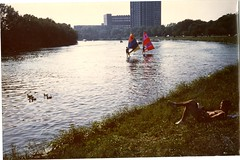 """""""Windsurfing on the Charles River"""" (Cambridge Room at the Cambridge Public Library) Tags: colorprintsphotographs cambridgemass charlesrivermass photography19801990 photographycompetitions"""