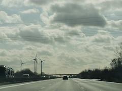 Riding home (3) (Steffiba) Tags: auto road sky car clouds germany deutschland highway himmel wolken autobahn february februar windenergy windkraft 2014 strase