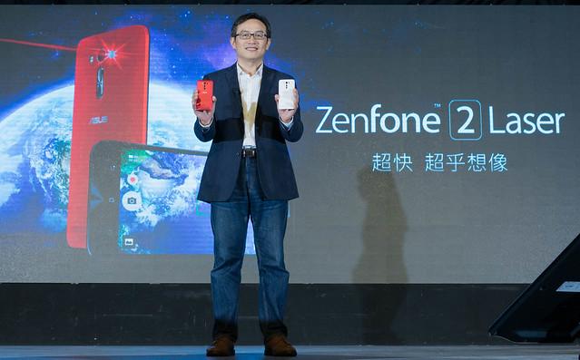 華碩推出搭載雷射自動對焦鏡頭的ZenFone 2 Laser對焦速度快2倍(圖為全球副總裁林宗樑)