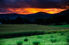 Layers (Ansel Adams J.R) Tags: blue sunset red orange nature field contrast dark landscape corn nikon vermont dramatic stormy valley dslr pawlet d7000