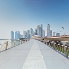 Hello Blue (rh89) Tags: city morning bridge blue sky urban panorama 6 3 color colour water architecture marina square bay early haze singapore soft long exposure skies cityscape angle pastel jubilee pano sony wide panoramic 100mm reservoir stop filter 09 lee crop nd format fe hazy 18 filters grad graduated density haida muted stops neutral 1635 1635mm gnd a7r