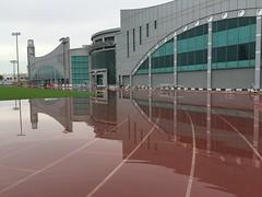 Flooded Running Track at Al Sadd Sports Club (iCandy Qatar) Tags: sports rain club track flood running doha qatar alsadd