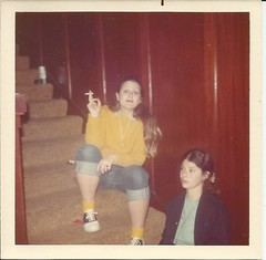 Improv rehersal night-1, 1970 (STUDIOZ7) Tags: girls stairs women cigarette snapshot can smoking 70s 1970s smoker seventies saddleshoes hammsbeer