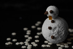 Sertraline Snowman (Mark B Hewitt) Tags: christmas black snowflakes snowman sad background meringue sertraline