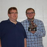 Ben Parker and Anthony Groves - Robot team SUPER NOVA - pose for a photo with their robot