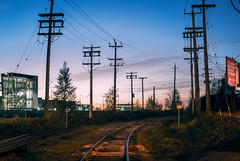 Disused Railway (lostcat_photos) Tags: city light sky urban nature lines vancouver train 50mm evening bc power tracks rail dim j2 nikon1 1nikkor185mmf18