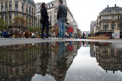 foreshortened (maybemaq) Tags: road street city brussels people urban house distortion reflection building water lines rain wall architecture buildings puddle mirror calle couple europe strada boulevard belgique geometry path weekend space details capital perspective bruxelles pedestrian tourist double structure symmetry mcdonalds line foreshortening walls bourse brussel aftertherain depth rendezvous beurs waterreflection lowangle foreshortened wetreflection anspach anspachlaan maybemaq beigië beiglum