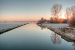 morning frost (stevefge) Tags: beuningen frost winter hdr water canal trees nature natuur nederland netherlands nl nederlandvandaag gelderland reflectyourworld reflections glow