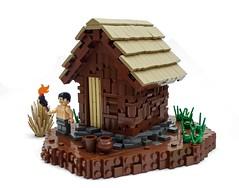 Primitive technology - tiled roof hut (Magma guy) Tags: lego primitive technology tiled roof hut mud walls stones bushcraft