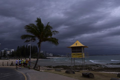 Storm Runners (bobarcpics) Tags: queensland australianbeaches lifesavertower rainbowbay palmtree beach storm clouds path runners people coastalliving