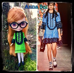 """My first attempt at Anna Sui fashions for my upcoming """"BLYTHE LOVES ANNA"""" 💜I used a remnant from a shirt I'd made my son but left off the lace hem (overwhelmed her). Les Jeunette models until """"Anna"""" herself appears. 😊 (Painters Life) Tags: blythedoll blythe hasbro blythecollaboration annasuiblythe annasui blythelovesanna"""