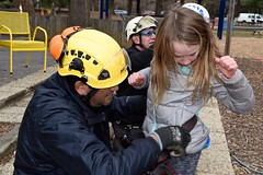 Arborist gears up girl 1 (Montgomery Parks, MNCPPC) Tags: treeclimbing woodsidepark january2017 2017