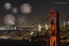 NYE Celebration at the Golden Gate Bridge... (markarlilly) Tags: goldengatebridge sanfrancisco california marincounty marin marinheadlands nye newyearseve fireworks transamericapyramid baybridge nikon nikon300mm coittower