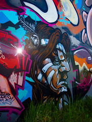 Hiding in the Long Grass (Steve Taylor (Photography)) Tags: emma wongi wilson indian feather art graffiti mural streetart colourful cool man newzealand nz southisland canterbury christchurch grass lensflare thawk streetfighter