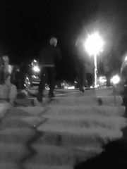 Night Steps (brucetopher) Tags: steps stairs man walk stepping walking night black white blackandwhite bw blackwhite monochrome tone tones step shadow light nightlight