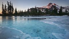 Frozen Tarn (prveugen) Tags: 2009 morning mountain mtjefferson cascaderange ice lake melt snow sunrise volcano oregon usa