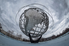 The Unisphere in Fisheye (dansshots) Tags: unishpere flushingqueens queens worldsfair nyc newyorkcity nikon nikond750 rokinon rokinon12mm fisheye wideangle dansshots clouds cloudy plane
