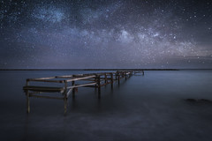 Galactic Pier (Alex Apostolopoulos) Tags: galaxy longexposure milkyway nightphotography stars dock pier nightscape astrophotography nightsky seascape landscape sony sonya6000 ilce6000 sonye16mmf28 cyprus haidafilters manfottobefree