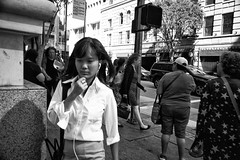 Thinking Walking (Val Blakely) Tags: people blackandwhite monochrome asian losangeles sony streetphotography documentary streetlife peoplewatching asiangirls documentaryphotography hotasiangirls a7s