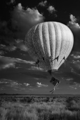 up and away (johngpt) Tags: fujifilmfinepixx100 wclwideconversionlens zomeiir720filter clouds cumulus cumulushumilis hotairballoons infraredfilter self sunset utilityshack westmesa sliderssunday hss tpflookingup x1flandscapes