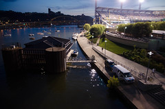 PNC Park (annburlingham) Tags: city people water river evening twilight pittsburgh baseball vehicles ballgame winner pncpark alleghenyriver nationalleague tcf thechallengefactory
