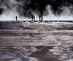 Silhouettes - Grand Prismatic Hot Spring, Yellowstone National Park (laura's POV) Tags: nature silhouette spring grand yellowstonenationalpark wyoming prismatic lauraspointofview lauraspov