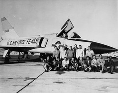 Convair F-106A 56-0459 with employees mfr (San Diego Air & Space Museum Archives) Tags: airplane aircraft aviation deltawing usaf usairforce militaryaviation pw convair prattwhitney unitedstatesairforce f106 deltadart f106a j75 f106adeltadart convairf106adeltadart convairf106deltadart f106deltadart convairf106 convairf106a prattwhitneyj75 convairdeltadart pwj75 j75p17 560459