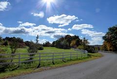 Landscape at Vischer Ferry (vischerferry) Tags: sky clouds fence lumix panasonic upstatenewyork pointandshoot sunstar horsefarm saratogacounty panasonicdmczs50