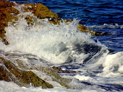 You're Not A Wave (Khaled M. K. HEGAZY) Tags: blue sea brown white macro nature water alexandria rock closeup seaside nikon mediterranean outdoor egypt wave coolpix بحر صخور أمواج صخرة موجة p520 الأسكندرية البحرالمتوسط