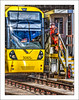 Passing the Token (Fermat48) Tags: uk england reflection yellow mosleystreet manchester metro tram hdr tramtrack signalman thebestofhdr tram3065