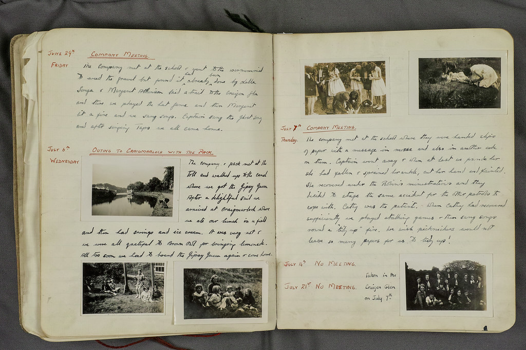 Torrance - Sheena Pirie Girl Guides Log Book - Outing and company meeting 1933