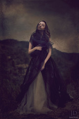 Longing ({jessica drossin}) Tags: portrait sky woman white mountain black texture dark photography alone veil dress stormy hills bleak tulle themoors jessicadrossin wwwjessicadrossincom jdbeautifulworldcollection