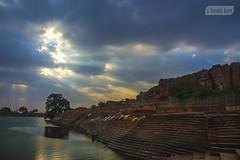 Agasythya Lake (Vinda Kare) Tags: india ancient karnataka badami rays sunset vatapi bagalkot lake sandstone water