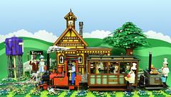 "LEGO Sunday Afternoon Tea Train to Tetley (Brickbaron) Tags: lego railway trains station ""rowlandemett"" ""peterbarnsfield"" ""paulhetherington"" brickbaron ""narrowguage"" locomotive ""steamtrain"" english whimsical quaint brickcan tetleytea"
