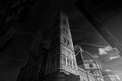 Bagliore Utopia (Roberto -) Tags: giotto campanile firenze duomo florence architecture architettura black white bn bw bianco nero light luce dawn alba italy italia perspective prospettiva
