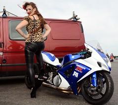 Holly NF 132 (Fast an' Bulbous) Tags: suzuki gsxr 1000 litre bike motorcycle drag race dragbike biker chick babe people outdoor santa pod england hot hotty sexy girl woman long brunette hair leopard print leather pvc jeans leggings high heels stilettos shoes nikon d7100 gimp model pinup