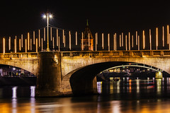 bridge over untroubled water (tombloo) Tags: mittlere brücke basel rhein wasser fluss bridge rhine night colors lights architecture langzeitbelichtung canon 60d 70200mm