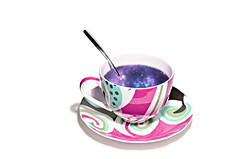 god's teatime (brescia, italy) (bloodybee) Tags: 365project cup tea drink teatime mug spoon cutlery star galaxy humor fun stilllife sky white purple violet