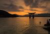 Itsukushima Shrine  Sunset [Explore 12/12/2016] (Astarotte73) Tags: japan summer itsukushima shrine sanctuary greattorii miyajima hiroshima sunset sundown golden hour wonder religion shintoism reflexions clouds calmness relaxeness zen hightide ootorii