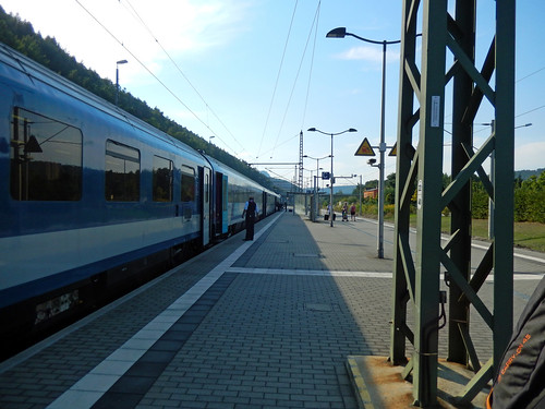 Bad Schandau station and a passenger train