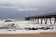 Badalona (ClaireAn_87) Tags: badalona pontdelpetroli marea temporal viento wind mediterráneo mediterraneansea bridge coast landscape water canon canon550d beach waves olas views