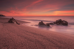 Golden sunrise (I) (eztopo79) Tags: sea seascape beach playa platja sant pol mar barcelona mediterranean mediterrani rocks sun sunrise canon catalonia catalunya tokina formatt hitech maresme