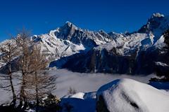 Lever de lune Moonrise Chamonix Mont Blanc (CHAM BT) Tags: vallee brouillard montagne neige soleil lune bleu arbre meleze rocher aiguille valley fog mountain snow sun moon blue tree larch chamonix winterbeauty fantasticnature