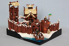 Bálkr Fort (jsnyder002) Tags: lego castle moc fort fortress wall pallisade meal fire cook pot water storehouse interior food tower snow bush cobblestone