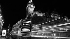 Edinburgh Night Bus(es) ghost story (lunaryuna) Tags: scotland edinburgh capital urban city walkinthecity urbanconstructs architecture traffic bus lighttrails night citynightssobright citylights nightphotography nocturnalphotography le longexposure blackwhite bw monochrome lunaryuna