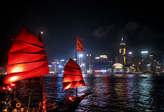red moon (poludziber1) Tags: city colorful cityscape color colorfull summer skyline sky streetphotography sea red hongkong china boat travel urban challengeyouwinner 15challengeswinner