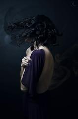 Barely There (Ivana Karina Figueroa) Tags: selfportrait portrait girl smoke vanish vanishing dust bare back profile