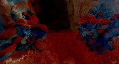 Underwater spell / Artist : Haveit Neox (THX 3million view!Bamboo Barnes - Artist.Com) Tags: art installation exhibition thehaul haveitneox secondlife sl virtualart digitalart surreal metales water ocean depth women pose red blue black sky vivid dark light shadow photo painting bamboobarnes