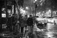 (dustinchanphotography) Tags: snowflake street city winter people snow weather boston corner waiting downtown intersection blizzard 2015